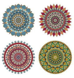 Set of color floral mandalas vector