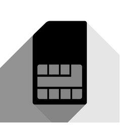 sim card sign black icon with two flat vector image