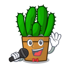 Singing spurge cactus plant isolated on mascot vector