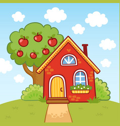 Small house stands on a hill next to an apple tree vector