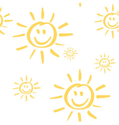 Smiling sun seamless pattern vector