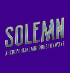 Solemn alphabet blue metallic golden font vector