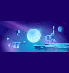 space background with landscape planet vector image