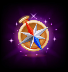 sparkly compass gui gaming or mobile app icon on vector image