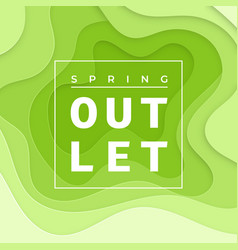 Spring outlet green papercut flyer template print vector