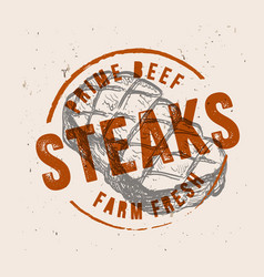 Steak with vintage stamp vector