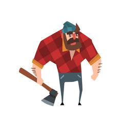 strong bearded woodcutter character with axe in vector image