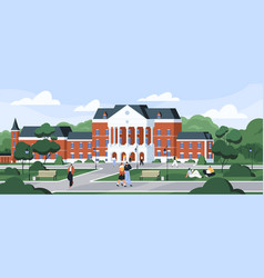 students walking and sitting on grass vector image