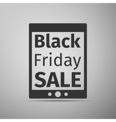 Tablet PC with Black Friday Sale text on screen vector