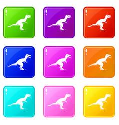 Theropod dinosaur icons 9 set vector