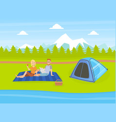 Tourist tent on natural landscape with mountains vector
