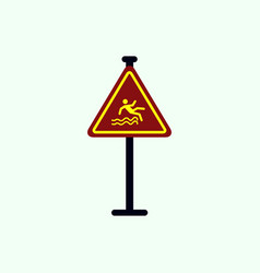 Traffic sign caution danger of falling into the vector