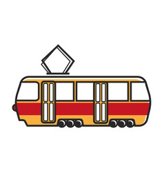 Tram wagon with special metal antenna isolated vector