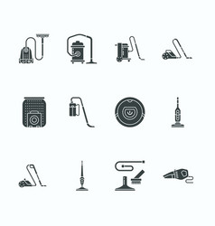 vacuum cleaners flat glyph icons different vector image