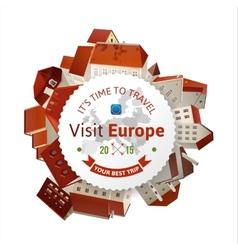 Visit Europe emblem with city landscape vector