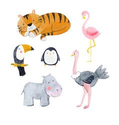 Watercolor animal set vector