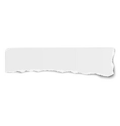 White elongate paper tear wisp with soft shadow vector