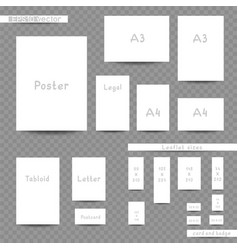 White print sizes advertisement set vector