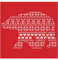 Winter pattern polar bear shape on red background vector image