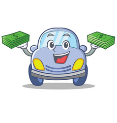 with money cute car character cartoon vector image