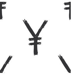 Yen sign icon brush lettering seamless pattern vector