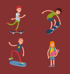 Young skateboarder active people sport extreme vector