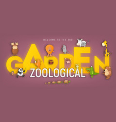 Zoo animals in zoological garden ad vector