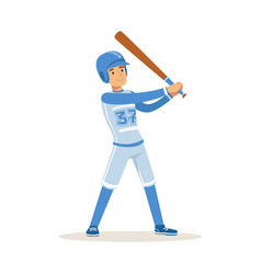 baseball player in blue uniform getting ready to vector image