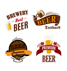beer pub isolated icons for brewery bar vector image vector image