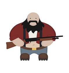 Cartoon redneck in red shirt with shotgun No vector image