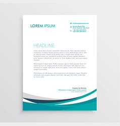 creative blue wave business letterhead design vector image
