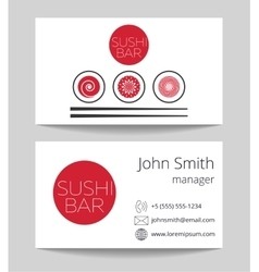 Japanese sushi bar business card template vector image vector image