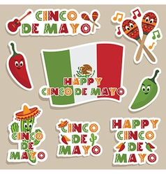 mexican labels vector image vector image