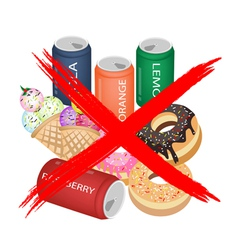 No Eat Sweet Drinks and Sweet Food vector image vector image
