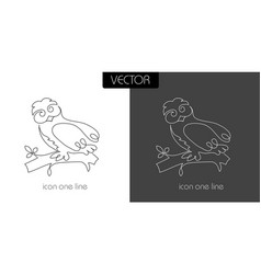 owl icon on white and black vector image