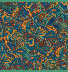 seamless pattern ethnic floral blue and brown vector image vector image