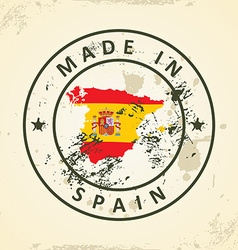 Stamp with map flag of Spain vector image vector image
