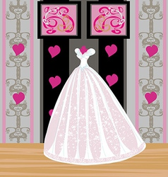 beautiful wedding dress on a mannequin in elegant vector image