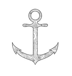 coloring page with anchor isolated on white vector image