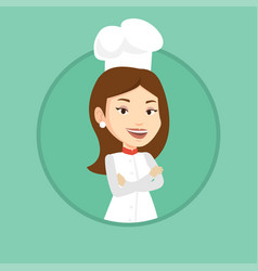 confident female chef with arms crossed vector image vector image