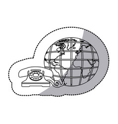 figure symbol global communication telephone icon vector image