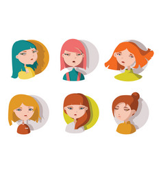 hand drawn young girls heads isolated on white vector image vector image