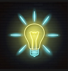 Light bulbneon sign vector