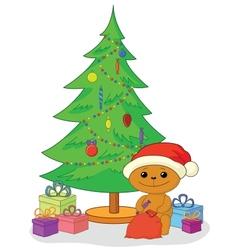 Teddy bear gifts and Christmas tree vector image