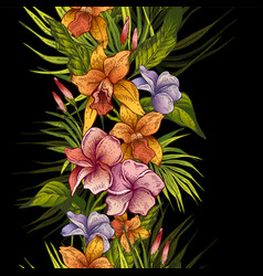vintage floral tropical seamless pattern vector image vector image