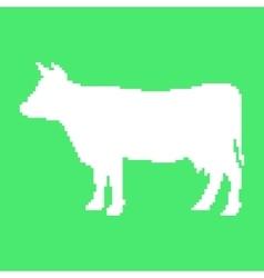 white cow in pixel art vector image vector image