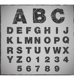 broken alphabet with grunge texture set vector image vector image