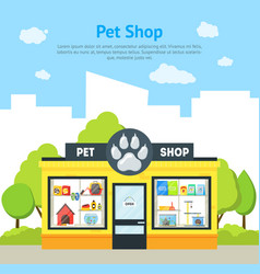 cartoon pet shop building card poster vector image