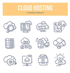 Cloud Hosting Doodle Icons vector image