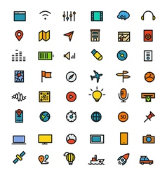 Different line style color icons vector image vector image